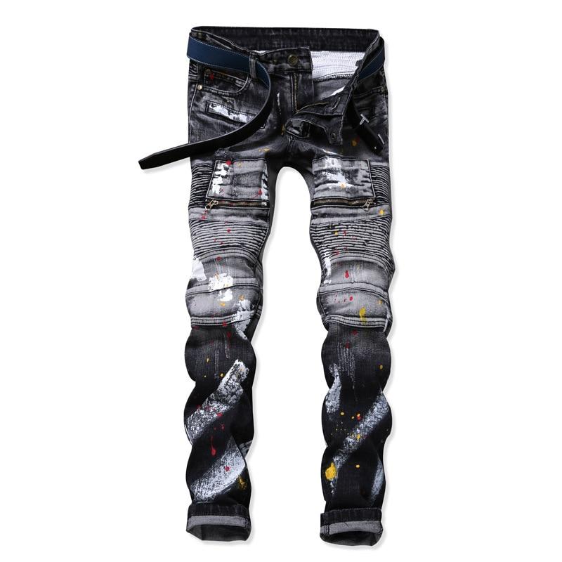 Hoge kwaliteit design mode heren biker jeans slanke stretch rechte - Herenkleding
