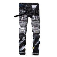 Новые мужские Жан дизайн balmai байкерские джинсы Slim стрейч прямые джинсовые штаны джинсы Рваные эластичные узкие мужские Мотоцикл мужские джинсы
