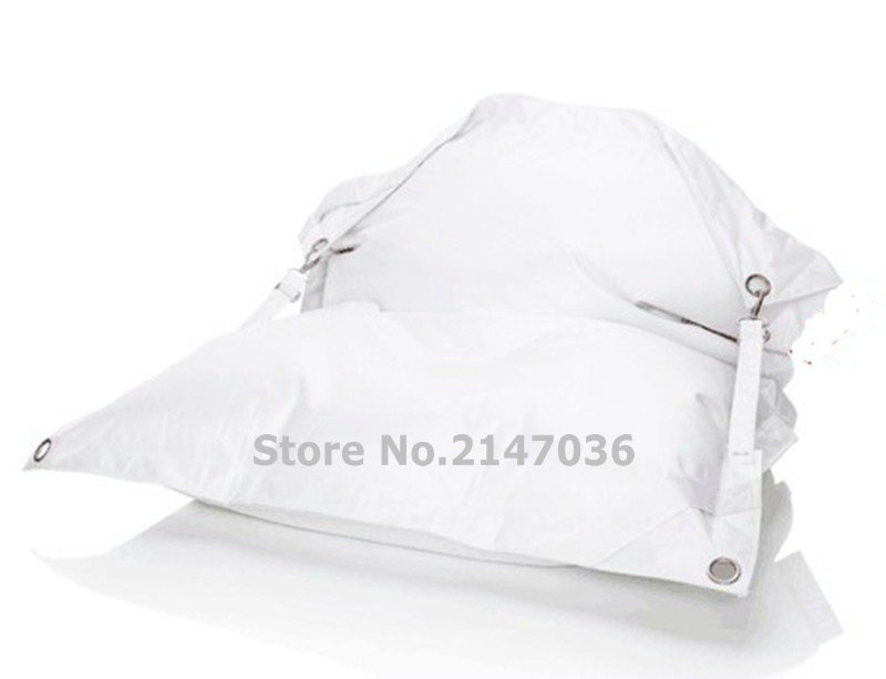 white outdoor buckle bean bag chair, external camping belts beanbag sofa cushions