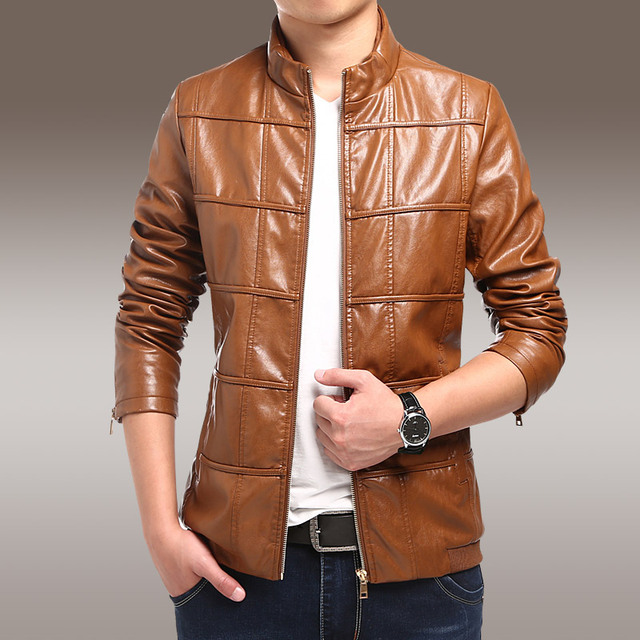 2016 Youth autumn thin section Stand collar leather leather jacket Slim Men PU leather motorcycle  jacket coat male