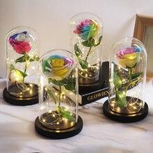 Красота и чудовище вечные Искусственные цветы с Свадебные украшения Роза в фляге стеклянный купол для свадебной вечеринки Рождественский подарок