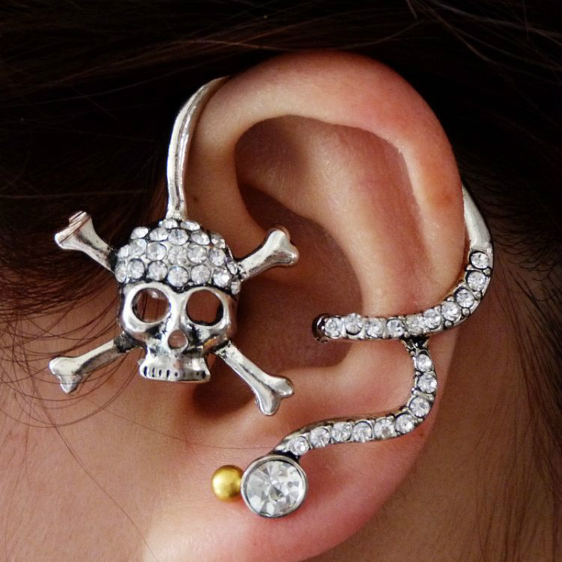 Earrings Jewelry Skull-Ears Punk Pirate Exaggerated Women for 3-Color Party-Gift Vintage