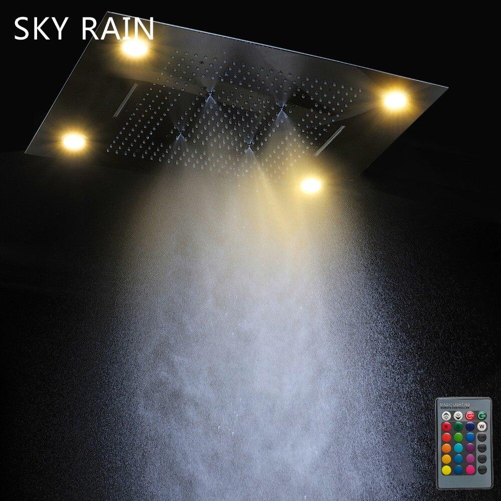 Multi fonction salle de bain LED pomme de douche ensemble thermostatique douche mélangeur robinet inverseur plafond monté pluie cascade luxe - 3