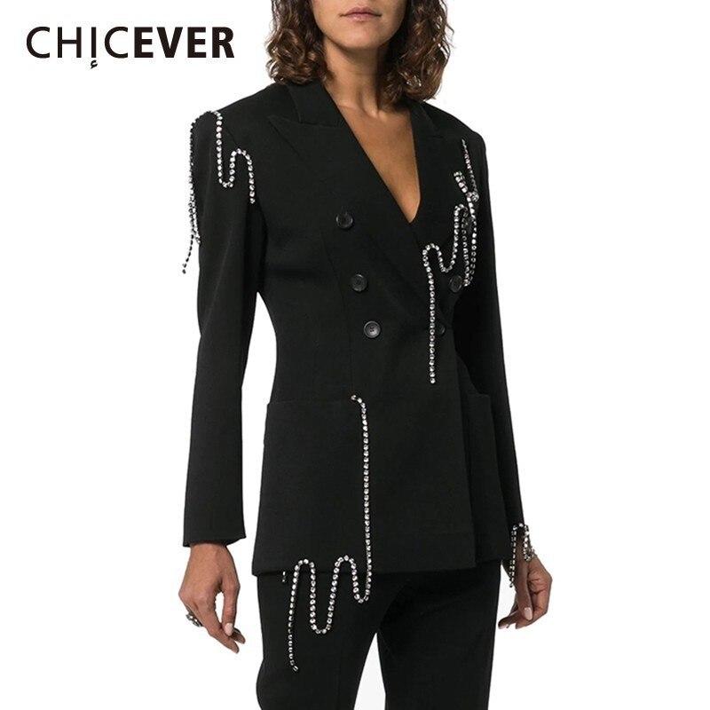 CHICEVER 2019 Autumn Ol Blazer Female Long Sleeve Notched Collar Diamonds Loose Big Size Coats Women Fashion New Clothing Korean(China)