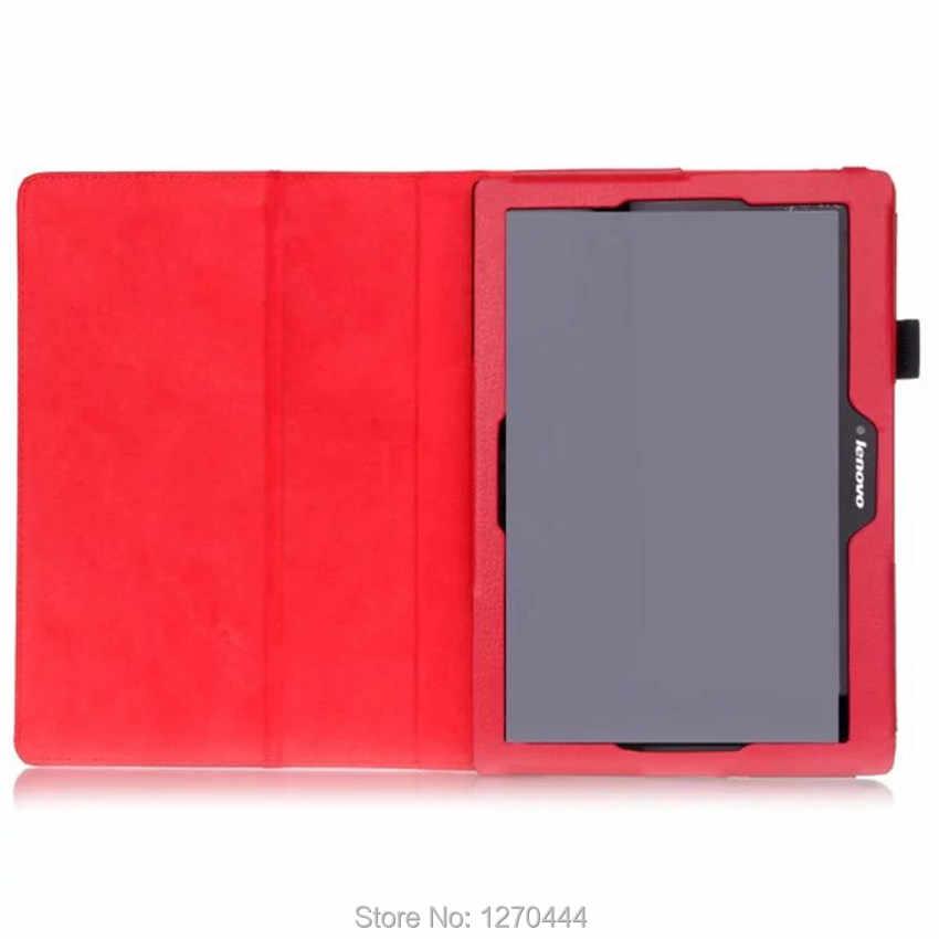 Tab 2 A10-70 standı deri kılıf için Lenovo Tab 2 a10-30 X30F X30L mıknatıs kapak için Lenovo TAB 10 TB -X103F Tab3 10 capa + Film + kalem