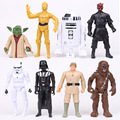 Star Wars 8pcs/set Maul Vader R2-D2 Yoda Stormtrooper Chewbacca C-3PO PVC Figures Toys N04
