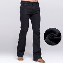 Winter Jeans Male Boot Cut Style Thicken Fleece Jeans Black Stretch Denim Slim Pants