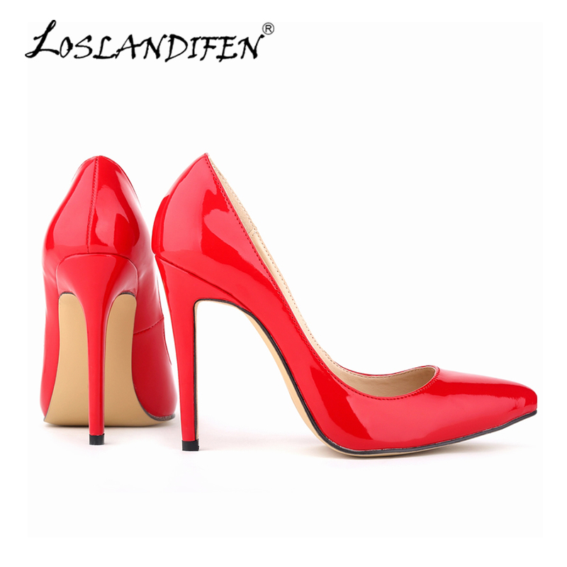 LOSLANDIFEN Fashion Ladies Platform High Heels Round Toe Pumps Women Spring Sexy Wedding Shoes Ladies Office Simple Pumps302-1PA lady red shoes heels women pumps fashion suede high heels ladies wedding shoes platform round toe sexy footwear g752