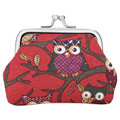 Cute Owl Plant Print Metal Frame Canvas Coin Purse for Girl for Women Owl Print Pattern Clutch Change Purse for Women