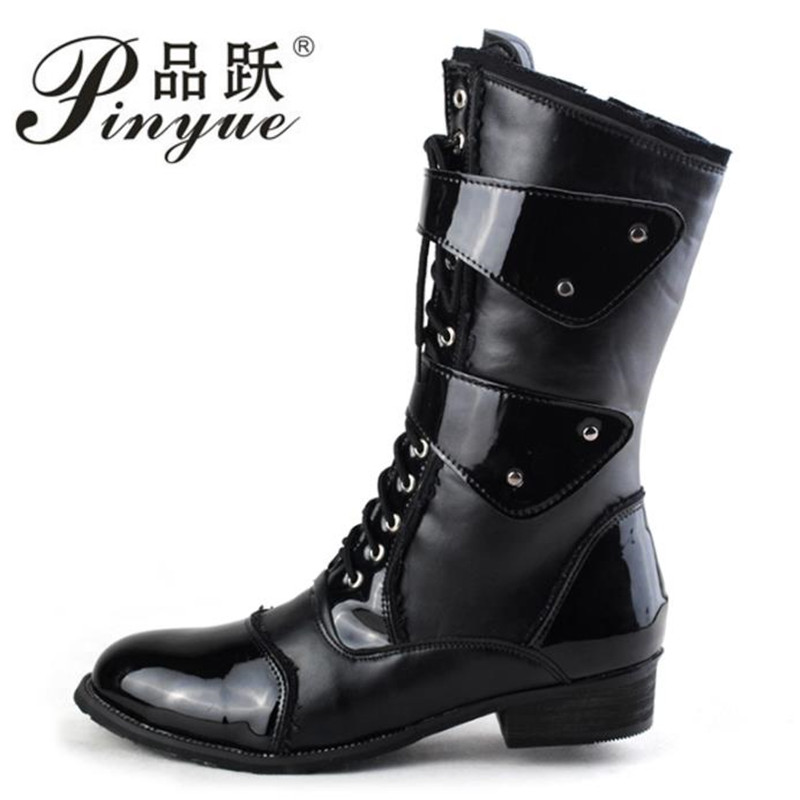 Mens Knight Boots 2019 Mid Leg Patent Leather Boots Long Military Boots for Man Waterproof Work