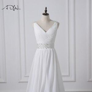 Image 5 - ADLN 2020 Strand Hochzeit Kleider V ausschnitt Böhmischen Chiffon Perlen Braut Kleid Nach Maß Brautkleider Vestidos de Novia