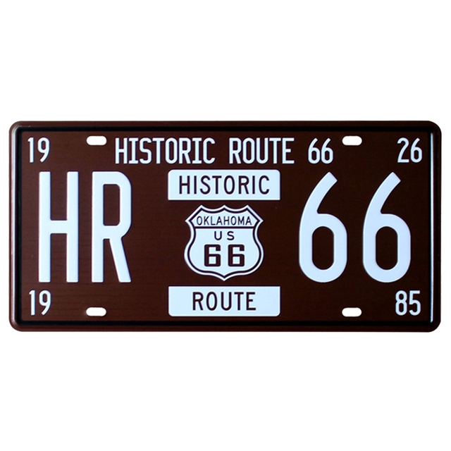 Plaque Vintage immatriculation Route 66