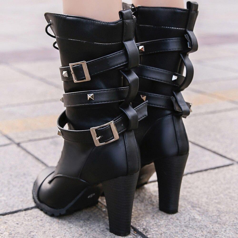 shoes Boots Women Ladies Classics Rivet Belt High Heels Mid-Calf Boots Shoes Martin Motorcycle Zip boots women 2018Oct31 18