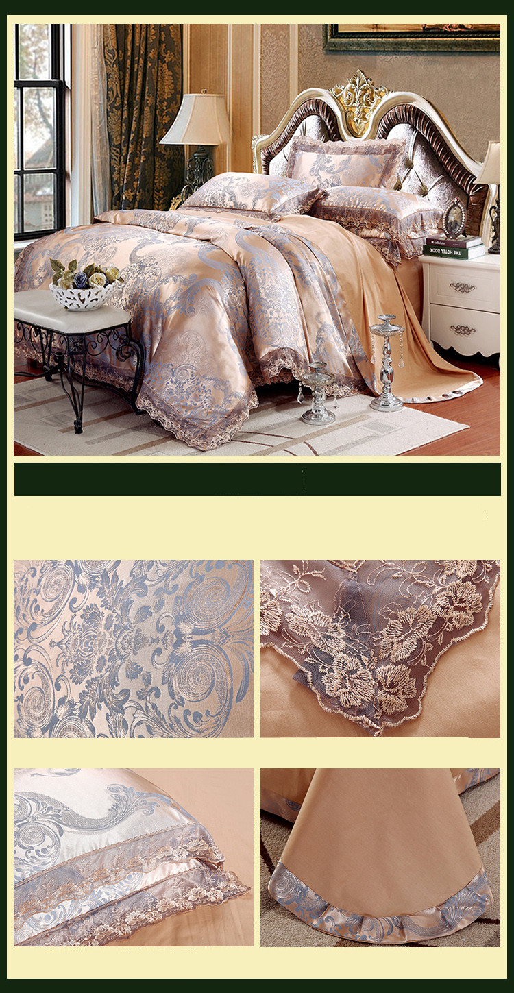 New Luxury Embroidery Tinsel Satin Silk Jacquard Bedding Set, Queen, King Size, 4pcs/6pcs 17