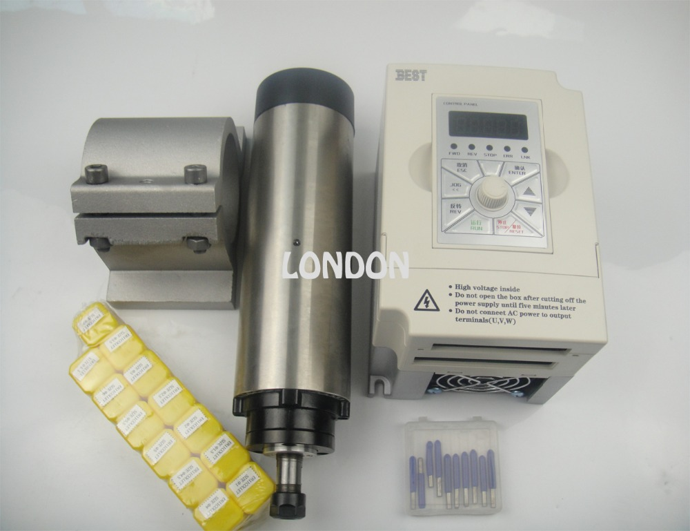 Kit de husillo CNC ER11 800w motor de husillo de refrigeración por aire + inversor de 1.5KW + soporte de husillo + 13 piezas ER11 pinzas
