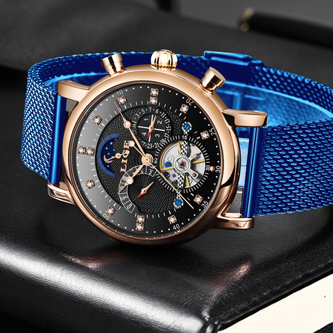 LIGE 2019 business watch men Automatic Luminous clock men Tourbillon waterproof Mechanical watch top brand relogio masculino Islamabad