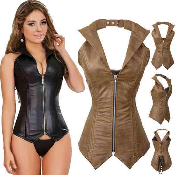 Corsets et Bustiers en simili cuir noir Sexy Corset désossé en acier Steampunk Corselet surbuste licou gothique Corpete avec Zip