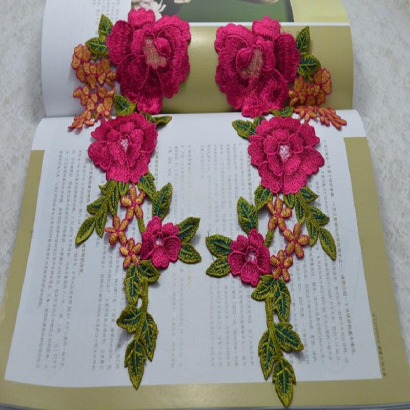 (1pair / ლოტი ზომა 28 * 12cm) სამკერვალო ყვავილების ყვავილი მოტივი Venice მაქმანი სამკერვალო ნაქარგები მაქმანი მაქმანი