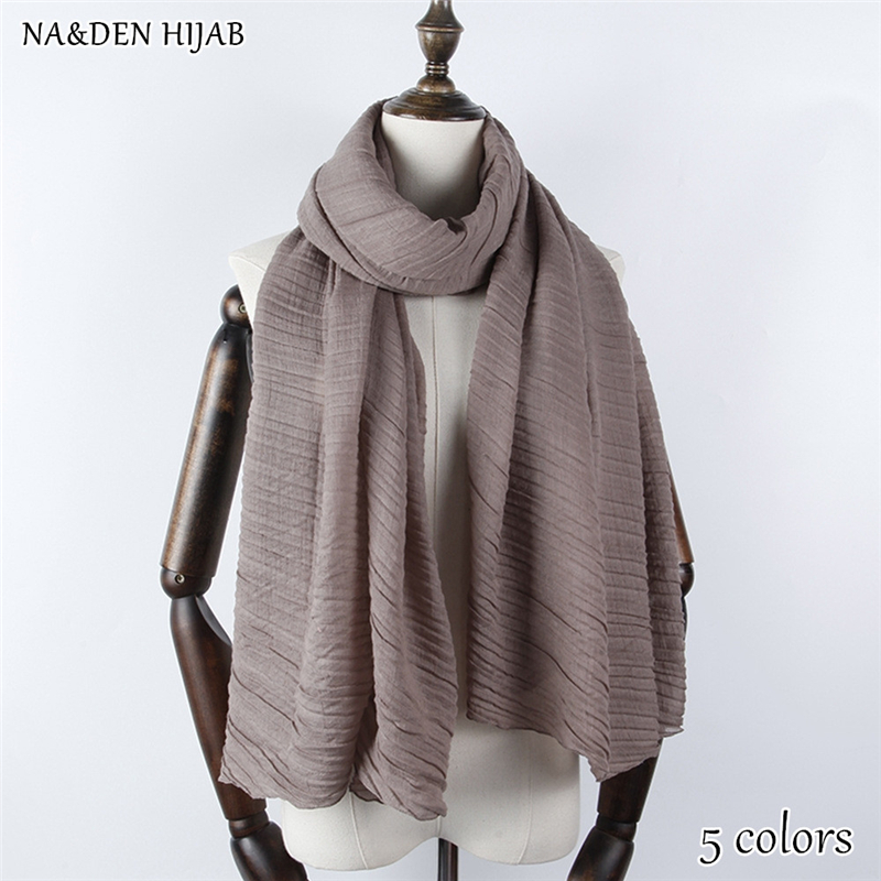 NEW style wrinkle scarf plain maxi hijab pleated fashion hijab luxury women scarves shawls brand soft muffler islamic hijabs