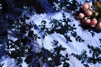 5 Yards Navy Blue Sequined Embroidered Floral Lace Fabric Wedding Table Cloth Photography Backdrop Wedding Table