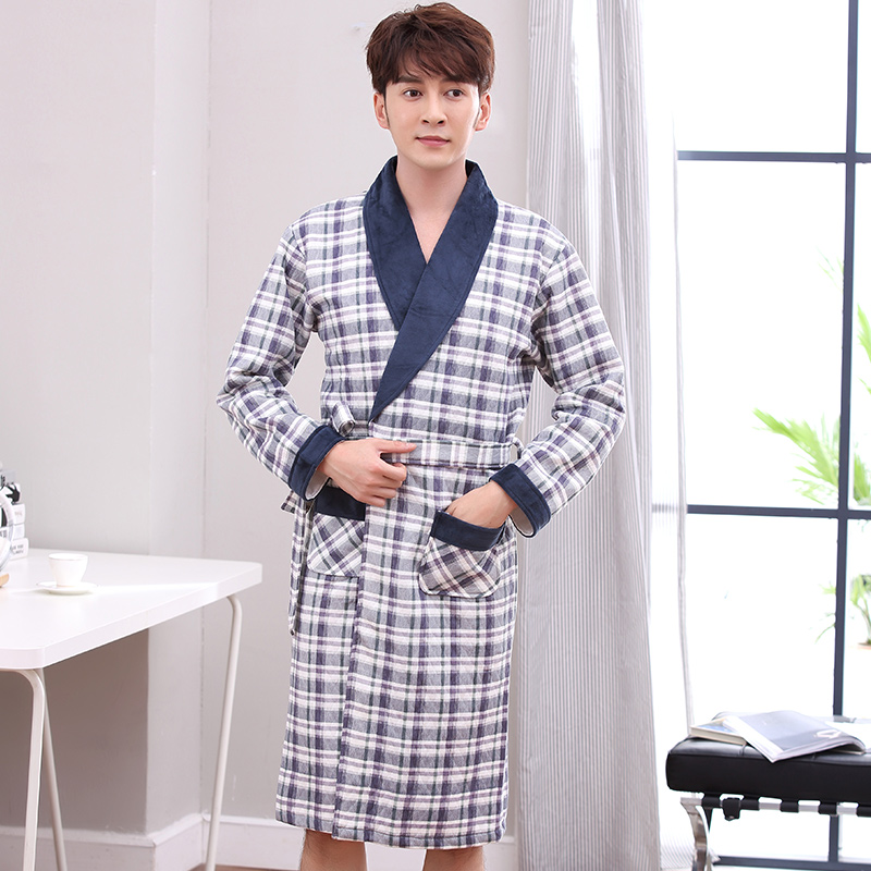 Men s Winter Quilted Robe Male Thick Warm Long Bathrobes Autumn Comfort Geometric Lattice Pattern Bath