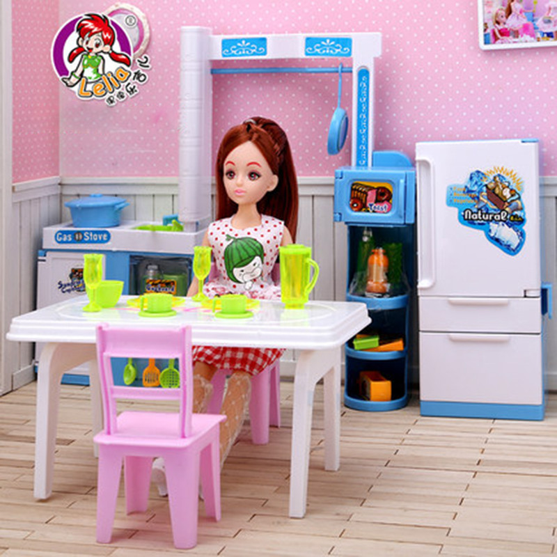 Lelia Dollhouse Furniture toy for dolls kitchen set Simulation refrigerator table pretend play toys for children kid girls gifts 1 12 dollhouse miniatures furniture re ment refrigerator hearth integral kitchen lampblack machine