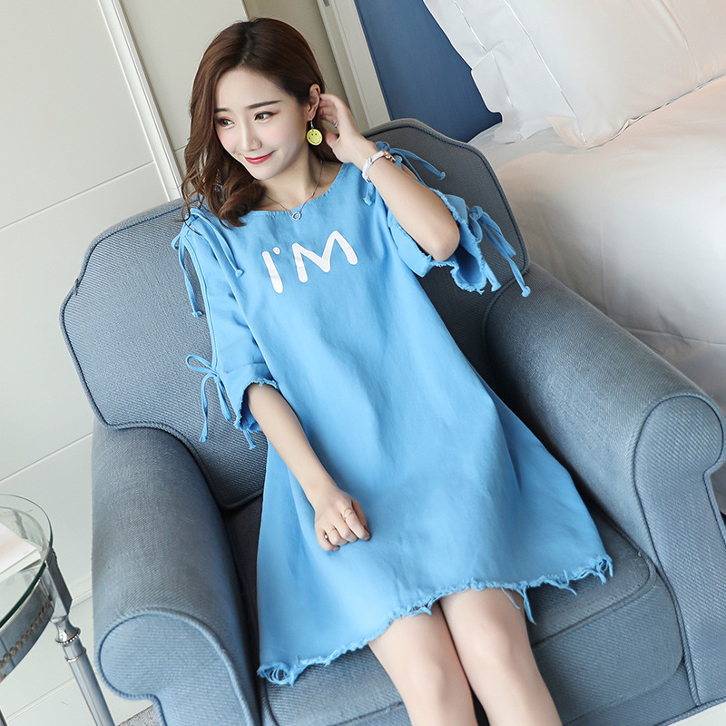 Maternity dresses 2018 new summer short-sleeved fashion letters off shoulder pregnant women dress pregnancy clothes vestidos