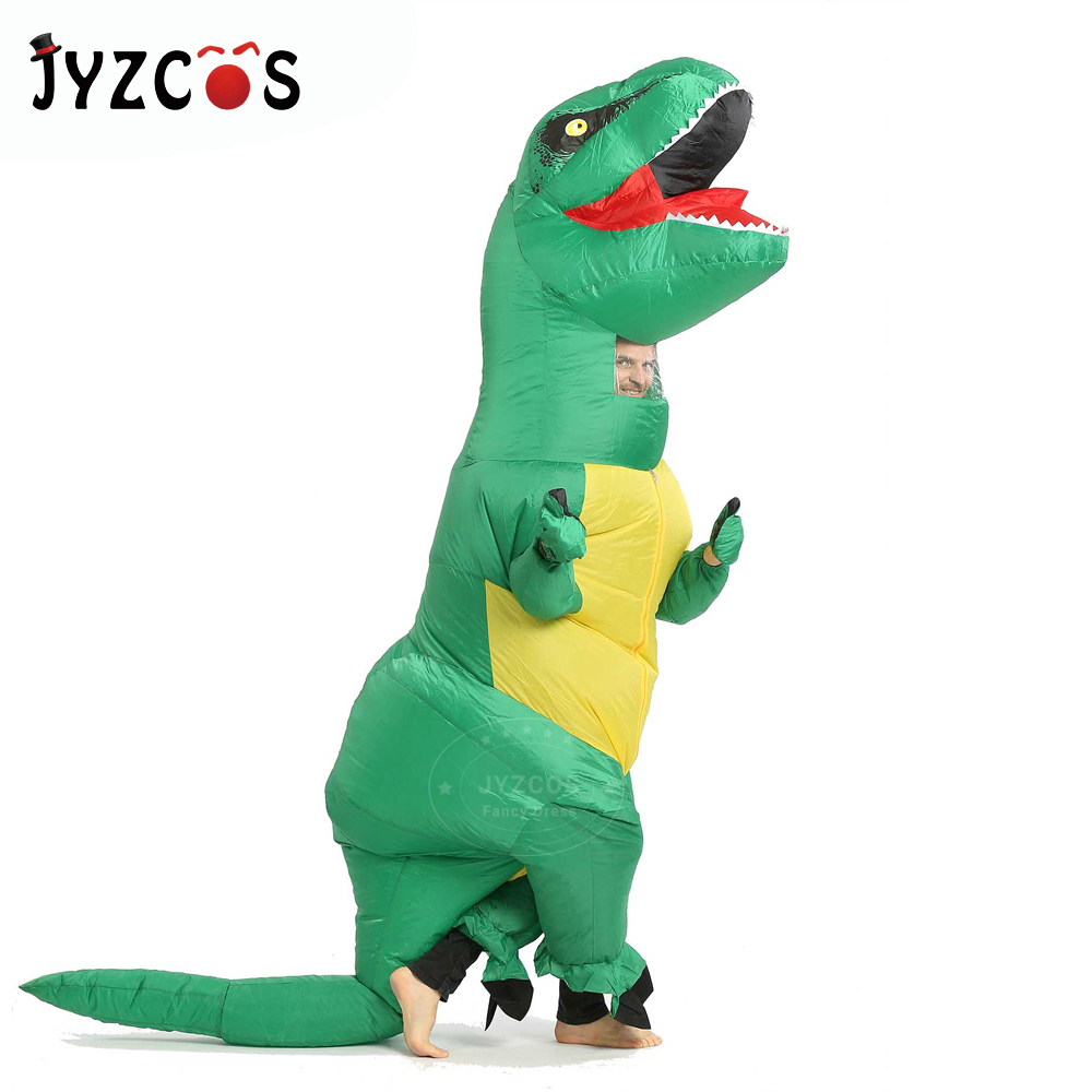 JYZCOS Inflatable TREX Costume Adult Kids Dinosaur for Men Women T Rex Jumpsuit Party Halloween Cosplay Blowup Disfraces Outfit