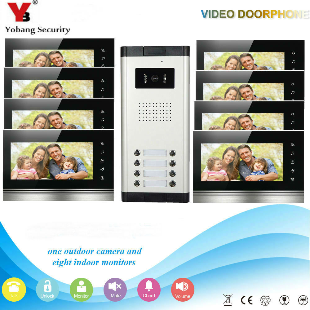 Yobang Security Home Video Intercom 7'Inch Monitor Video Doorbell Speakerphone Intercom Camera System For 8 Units Apartment yobang security free ship 7 video doorbell camera video intercom system rainproof video door camera home security tft monitor
