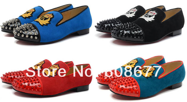 7bdaecf4a71 Wholesale Brand Embroidery Suede Leather Discount British Style Men Fashion  Street Spikes Studs Shoes Red Bottom Free Shipping -in Men's Casual Shoes  ...