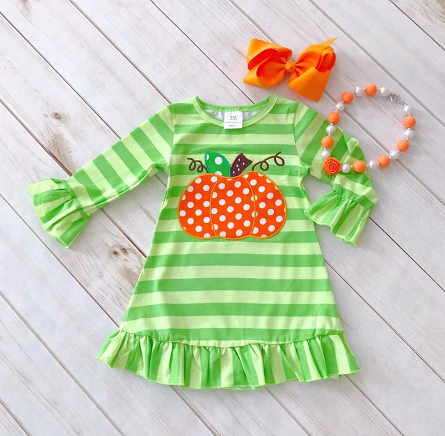 6ebbe5ed3ee50 Halloween baby girls kids Fall striped mint outfits dress pumpkin boutique  cotton long sleeve children clothing match accessory