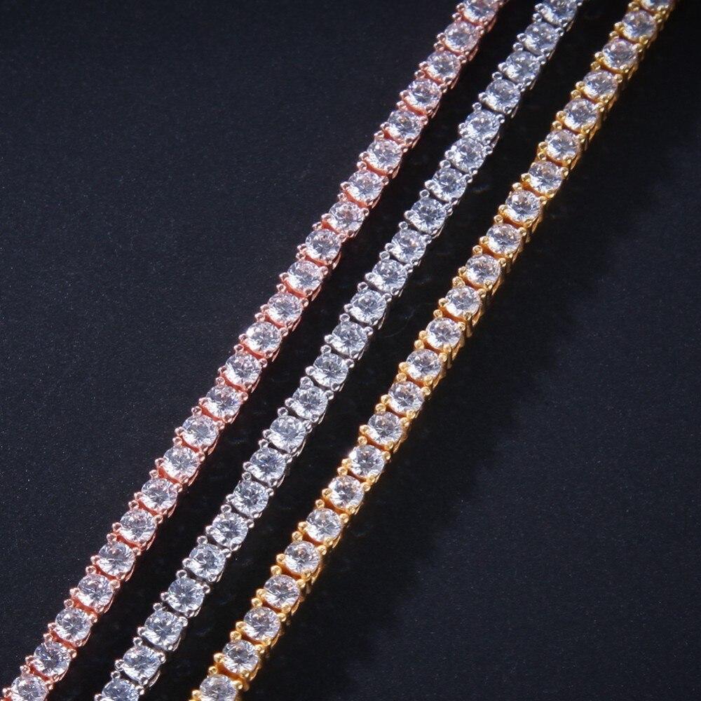 El rey BLING auténtico 100% Plata de Ley 925 exquisita mujeres hombres 3mm CZ collar lujo plata esterlina tenis encantador regalo-in Collares colgantes from Joyería y accesorios    3