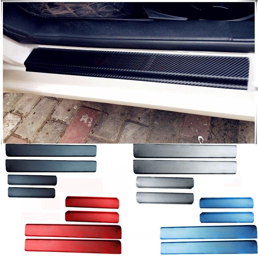 Painel de Fibra de carbono Universal Car Tampa do Peitoril Da Porta Da Placa do Scuff Passo Protetor para Suzuki Ford Renault etc Carro styling
