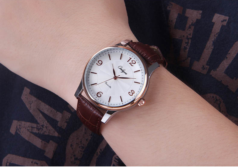 ФОТО Onlyou Lover's Watch Women Men Wristwatches Hardlex Mirror Japan Quartz Movement Leather Straps Waterproof Watches 8856