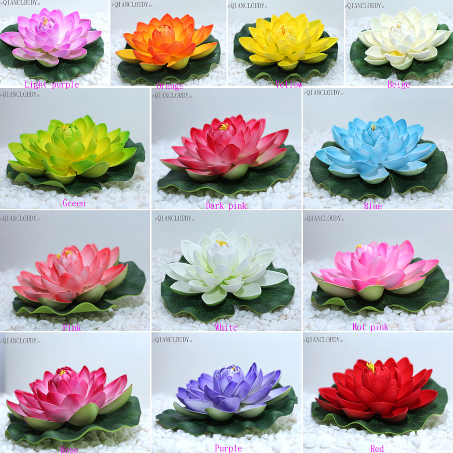 10 Pieces Artificial Fake Lotus Leaf Flowers Water Lily Floating