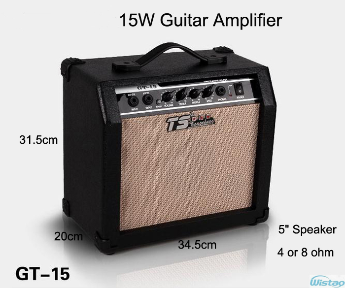 15W Digital Acoustic Guitar Amp Amplifier Speaker Unit 5 inches with 3 Bands Effects & 2 Simulation Effect Earphone Input Black in box om digital input unit nx id5342