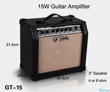 15W Digital Acoustic Guitar Amp Amplifier Speaker Unit 5 inches with 3 Bands Effects & 2 Simulation Effect Earphone Input Black