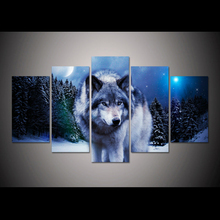 5pcs diy Diamond Painting Cross Stitch wolf pack snow animal full square Diamond Mosaic beaded Embroidery Rhinestones H281 пюре агуша фруктовое пюре яблоко банан 115 г