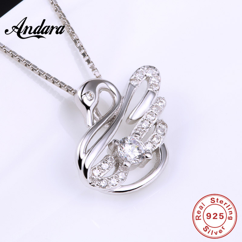 ANDARA Authentic 925 Sterling Silver Crystal Mysterious Swan Pendant  Necklace For Female Jewelry-in Chain Necklaces from Jewelry & Accessories  on ...