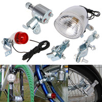 12V 6W Bicycle Motorized Bike Friction Generator Dynamo Headlight Tail Light Kit 2017 Cycling Lights Lamp