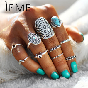 IF ME 10 Pcs/Set Antique Silver Color Bohemian Midi Ring Set Vintage Steampunk Anillos Knuckle Rings For Women Boho Jewelry