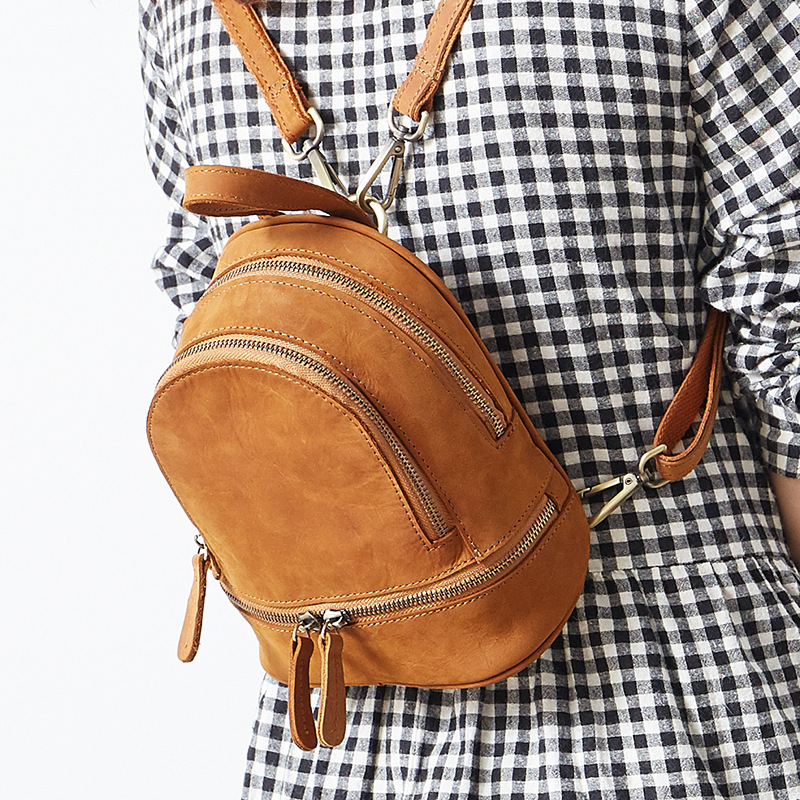 Original New Genuine Leather Women Time Casual Women Backpack Cow Leather Shoulder Bag A4627 new genuine leather women oil nubuck retro women backpack casual backpack casual shoulder bag bucket bag a4625