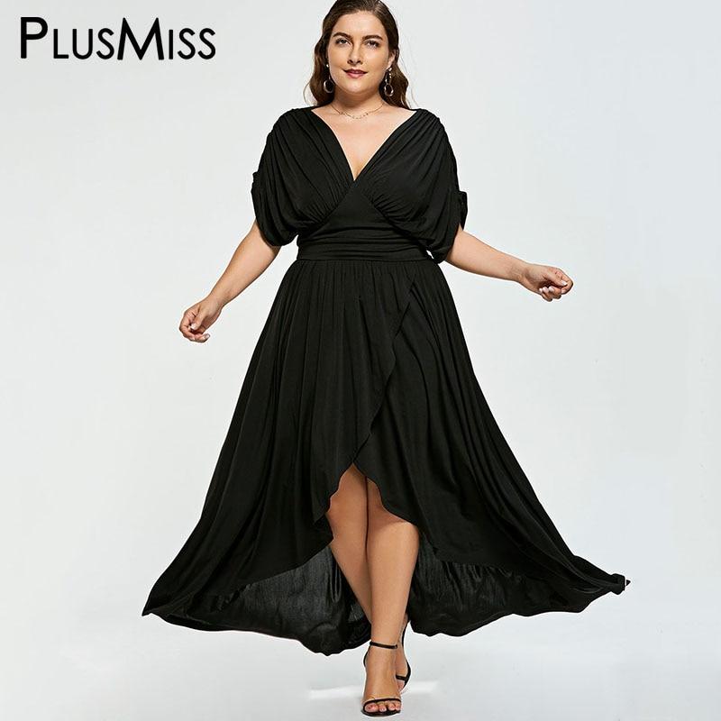 PlusMiss Plus Size 5XL 4XL Vintage Elegant Ruched Party Dresses Boho Beach Loose Maxi Long Dress Women Big Size Black Robe Femme lc6181 2 ruched wrap midi dress black free size