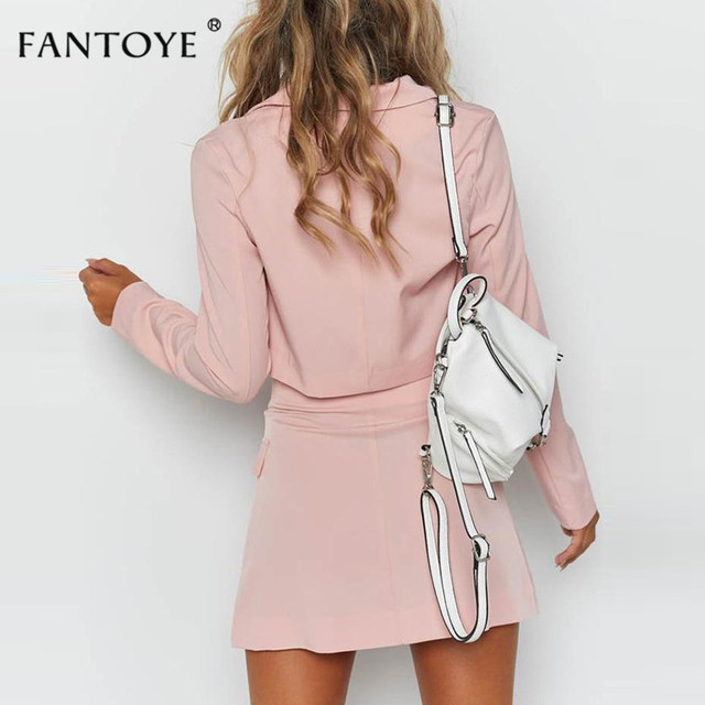 Fantoye Summer Fashion Official Two Piece Set Women Pink V Neck Mini Bodycon Dress Set Full Sleeve Casual Coat Streetwear Suits 3