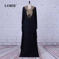 Лори арабский Вечерние платья реальная картина бисером с Камни линии Черный с длинным рукавом мусульманское платье для выпускного вечера ш