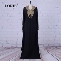 LORIE Arabic Evening Dresses Real Picture Beaded with Stones A Line Black Long Sleeve Muslim Prom Dress Chiffon Dubai Kaftan