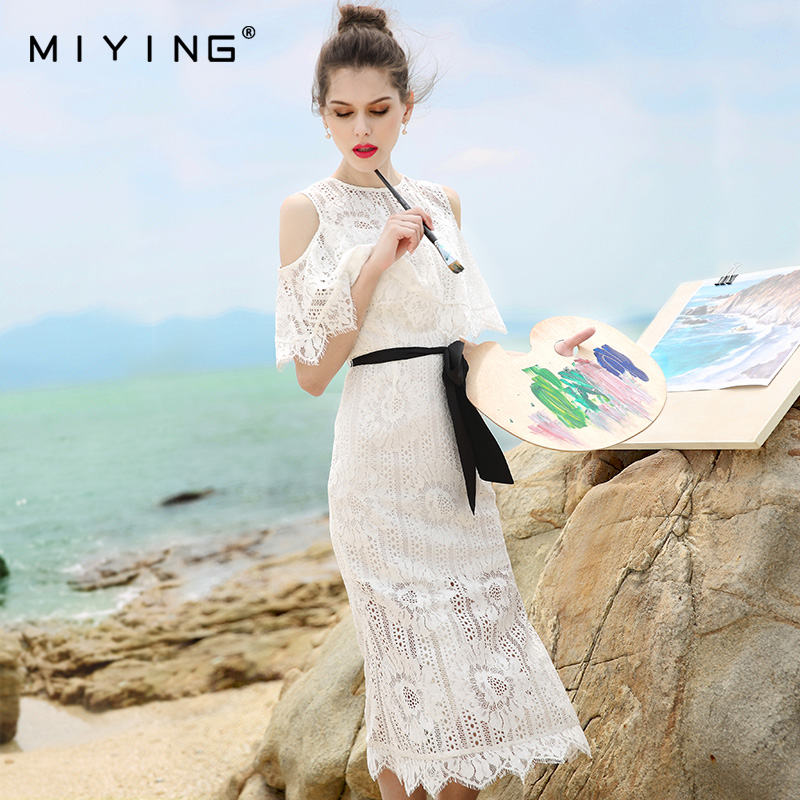 MIYING 2017 Summer Dress Lace Petal Sleeve Hollow Out O Neck Embroidery Pencil Dress Elegant Vestidos