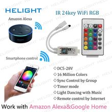 LED Wifi RGB/RGBW + IR 24key strip controller przez amazon alexa Google Home Phone WIFI pilot do muzyki na 5050 3528 RGB Strip(China)