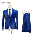 2 Picese Suit Jackets+Pants 2017 Fashion Man Suit Slim Blue Plaid One Single Button Weeding Groom Suits Costume Homme Tuxedo 4XL