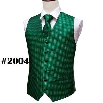 Designer Mens Classic Black Paisley Jacquard Folral Silk Waistcoat Vests Handkerchief Tie Vest Suit Pocket Square Set Barry.Wang 29